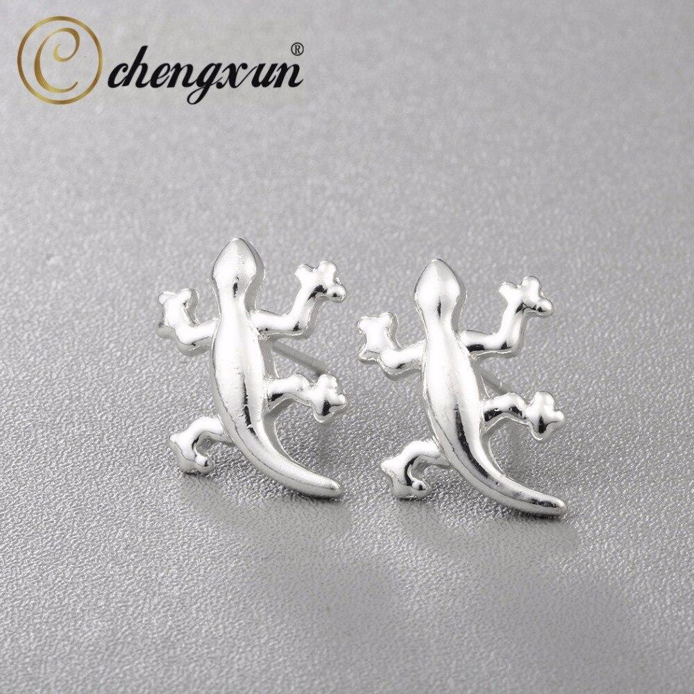 CHENGXUN Punk Gothic Silver Lizard Reptile Stud Earrings Men Women ...