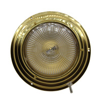 Brass LED Dome light Round Interior Ceiling Lamp with Switch for 12V 24V Caravan Motorhome 137MM