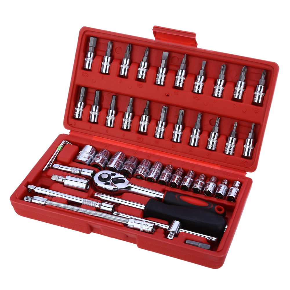 Juego unids de llaves de 46 piezas de 1/4 pulgadas Juego de herramientas de reparación de coches juego Llave de trinquete de par combinación Bit un juego de llaves cromo vanadio