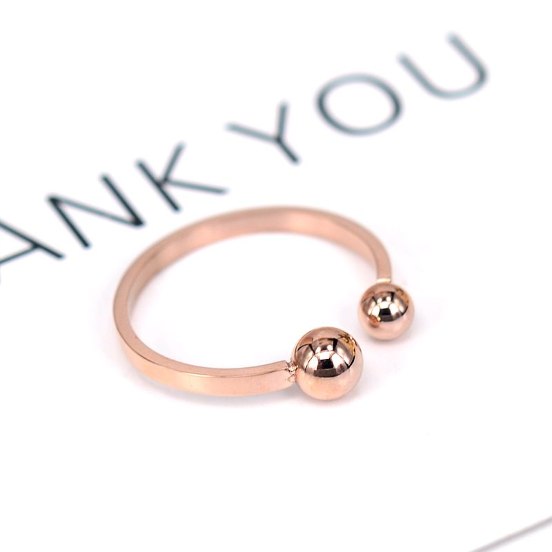 YUN RUO 2020 Rose Gold Silver Color To Balls Finger Ring for Woman Girl Gift 316L Rustfritt stål smykker High Polish Ikke falmer