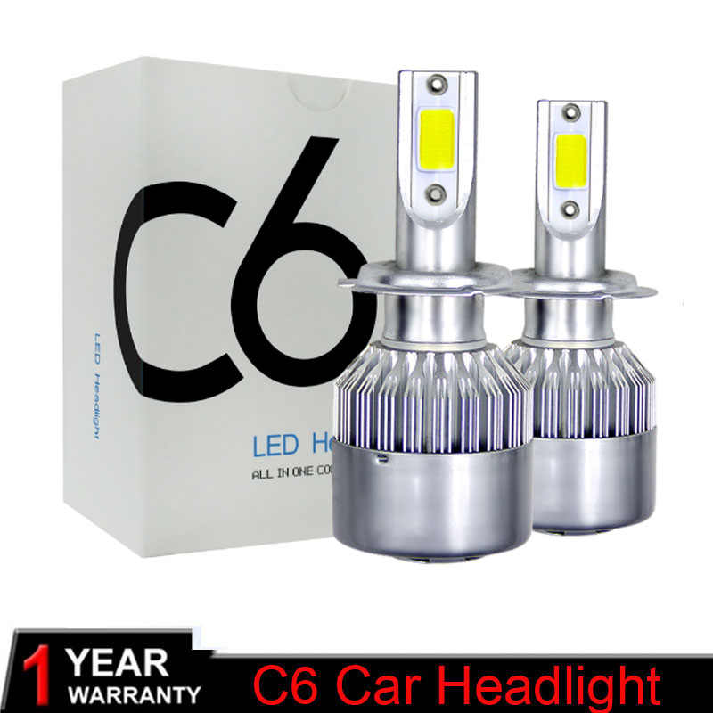 Super Bright Auto Car H8 H3 H11 H7 H4 H1 LED Headlights 6000K Cool white 72W 7600LM COB Bulbs Diodes Automobiles Parts Lamp