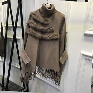 Image 5 - נשים אמיתי ארנב פרווה גלימת סוודר מעיל חדש הגעה אופנה אביב ליידי גבוהה צווארון בת שרוולים טאסל פונצ ו סוודר מעיל