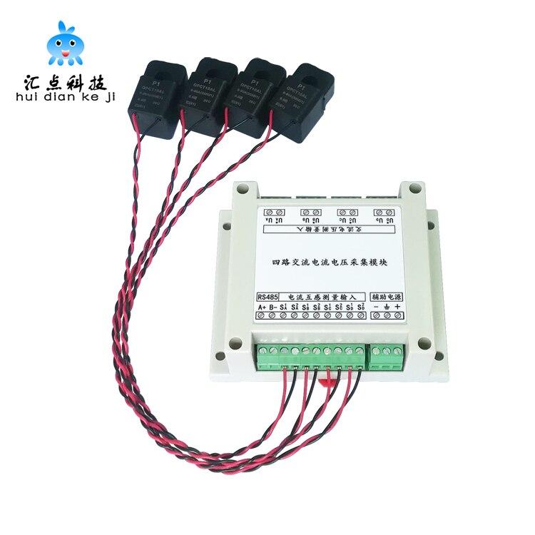 4 Road PLC AC Voltage And Current Transformer Voltage And Power Mutual Inductance Acquisition Measurement Sensor Module 485