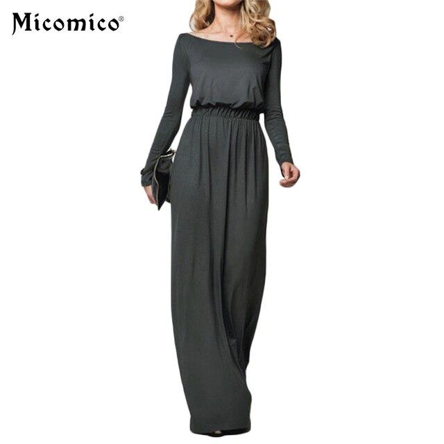 Maxi Long Dress Female 2018 Summer Solid Elegant Loose Long Sleeve Retro  Slash Neck Casual High Waist Cotton Dresses Vestido 1c1d6fe573c2