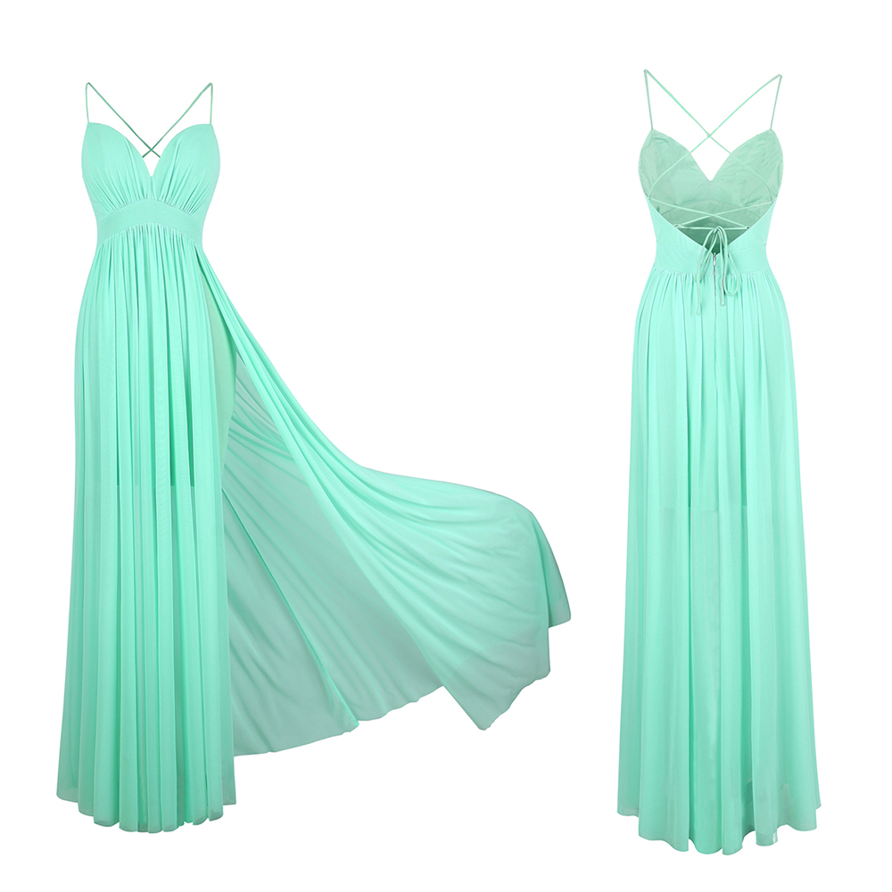 Angel-fashions Women's Bridesmaid Dresses Mint Green Tulle Pleated Slit Beach New Style Party Gown 406