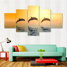 Modern Wall Art Canvas Prints 5 Pieces Animal Dolphins Modular Painting Decoration Landscape Pictures Framework Scenery Poster(China)