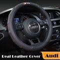 Genuína Tampa Da Roda de Direcção Do Carro De Couro para Audi S linha Preta Interior acessórios A3 A5 A7 A8 Q3 Q5 Q7 A6L A4L Car Styling