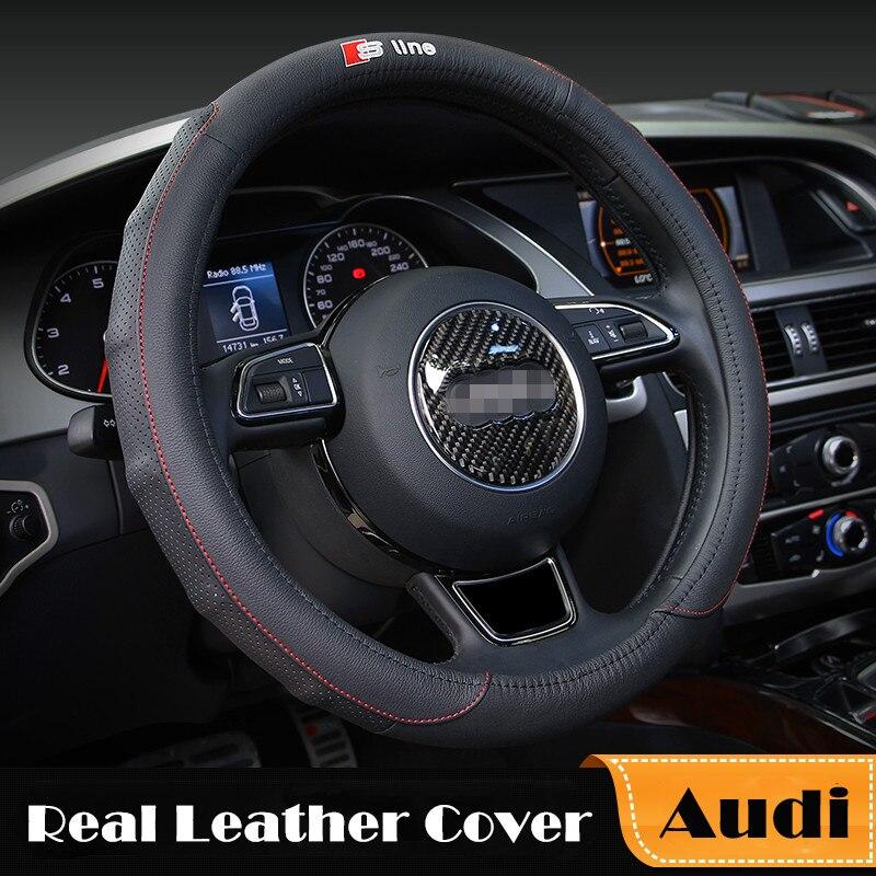 Genuine Leather for Audi Car Steering Wheel Cover S line Black ...
