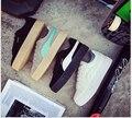 Primavera Placa de Couro De Verão Sapatos Casuais mulheres Sapatos Lace-Up Dedo Do Pé Redondo Apartamentos Sapatos Brancos Sapatos Da Moda Coreano