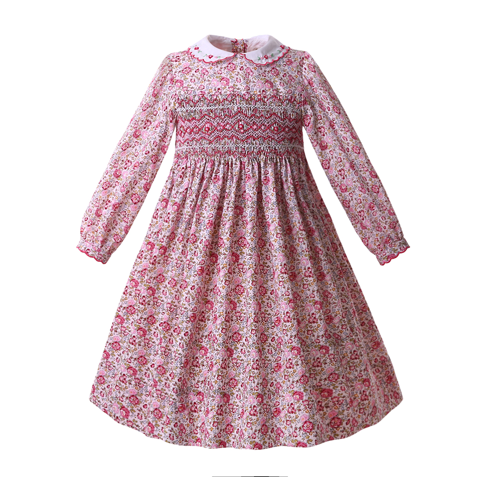 Pettigirl Pink Baby Girls Floral Holiday Smocked Dresses Long Sleeve Smocking Party Dress Boutique Outfits G DMGD108 B404-in Dresses from Mother & Kids
