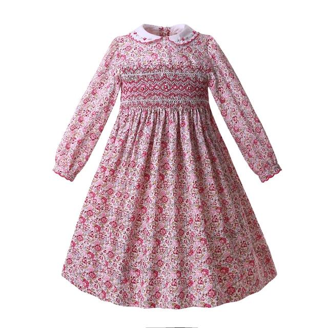 Pettigirl Pink Baby Girls Floral Holiday Smocked Dresses Long Sleeve