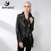 JEPLUDA New Women Jacket Genuine Sheepskin Leather Motorcycle Jacket Slanted Zipper Lambskin Coats Real Leather Jacket Women