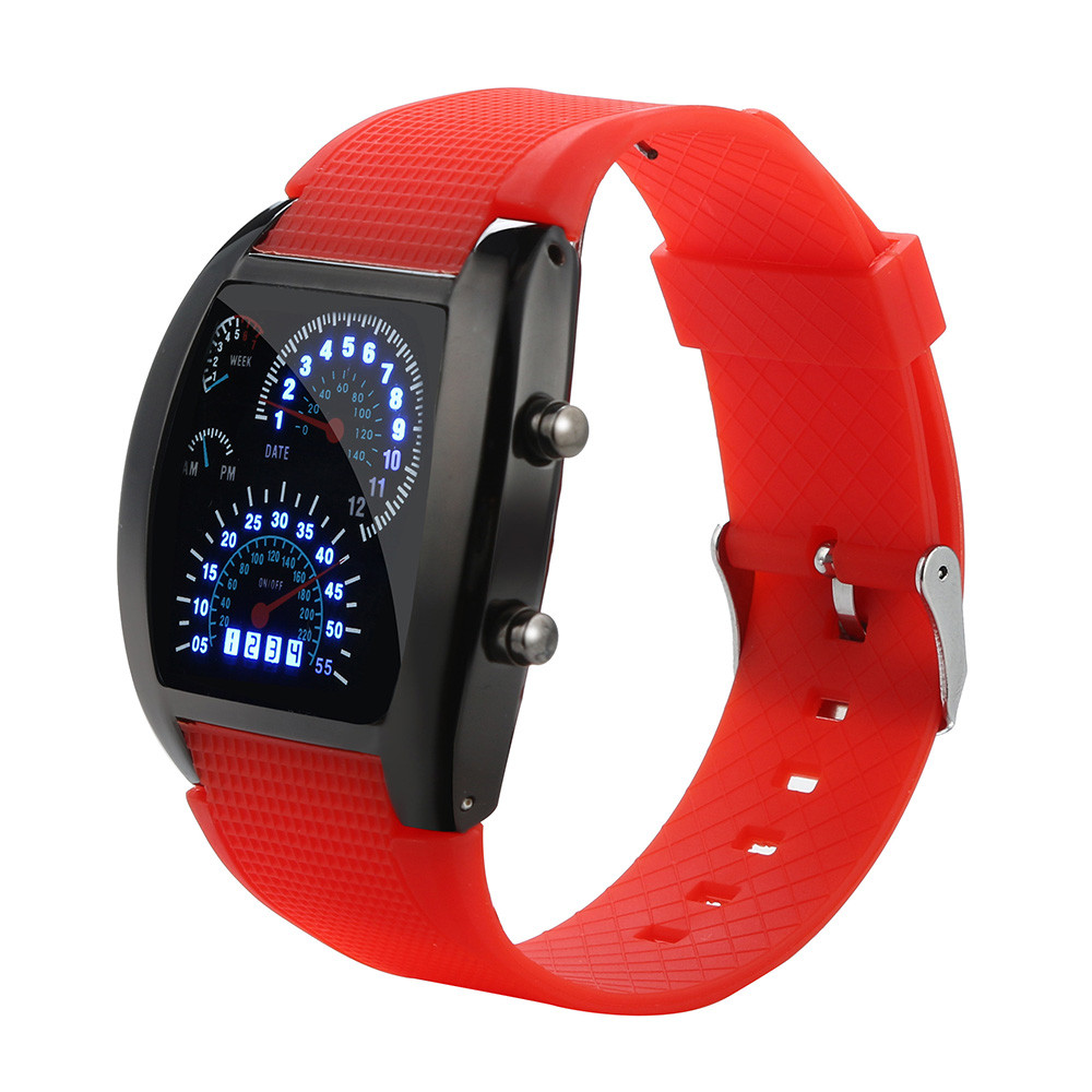 Men's Fashion LED Light Flash Turbo Speedometer Sports Car Dial Meter Sport Watch Electronic Digital Watch Gifts Men's Wrist