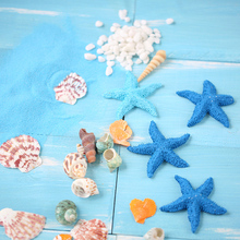 Exquisite Ornaments Natural Shells Conch Simulation Resin Starfish Blue Sand Beach Craft for Photo Backdrop Photography Props