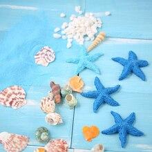 Exquisitos adornos conchas de Caracol naturales resina de simulación estrella de mar Arena Azul artesanía de playa para foto de fondo accesorios de fotografía