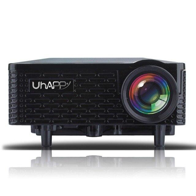 Nueva uhappy u18 home theater mini proyector led con control remoto soporte hdmi usb + sd + av + vga para iphone Android