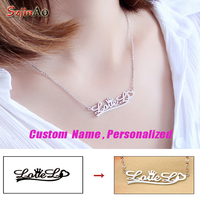 Szjiano Personalized DIY Name Necklace 925 Sterling Silver Pendant Necklace Come With Box Christmas Gift For