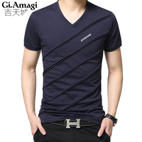 Plus Size 5xl 2017 New Spring Summer T Shirts Men Fashion V Collar Short Sleeved Slim