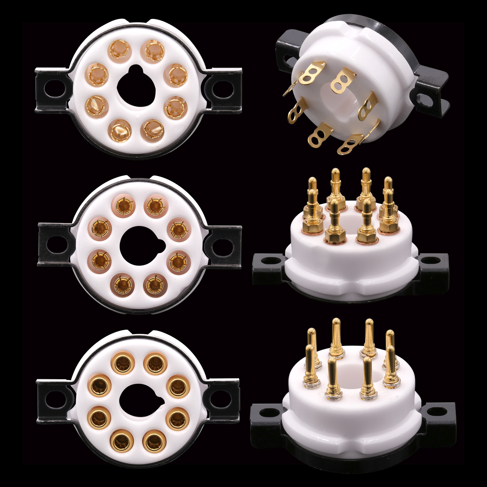 EIZZ High End Ceramic 8pin Octal Vacuum Tube Socket Base Gold Brass Pins For EL34 KT88 6550 6V6 274B 6L6 Hifi Tube AMP DIY 1PC