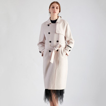 Shuchan Winter Coat Women Solid Adjustable Waist Turn-down Collar  Double Breasted Wool Blend Long Office Lady