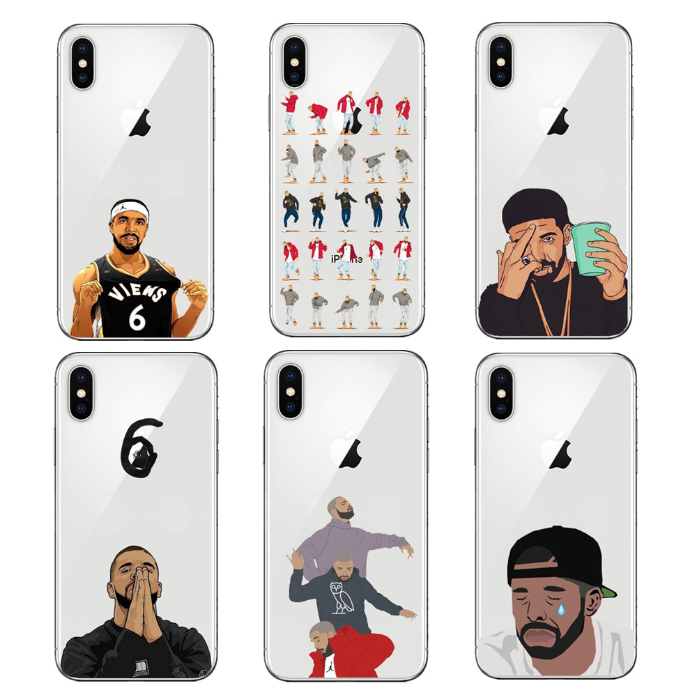 Cute Sexy Drake One Dance 6 God 1 800 Hotline Bling Soft TPU Phone Case Cover For iPhone SE 5 5S 6 6s Plus 7 7Plus 8 8 Plus X 10