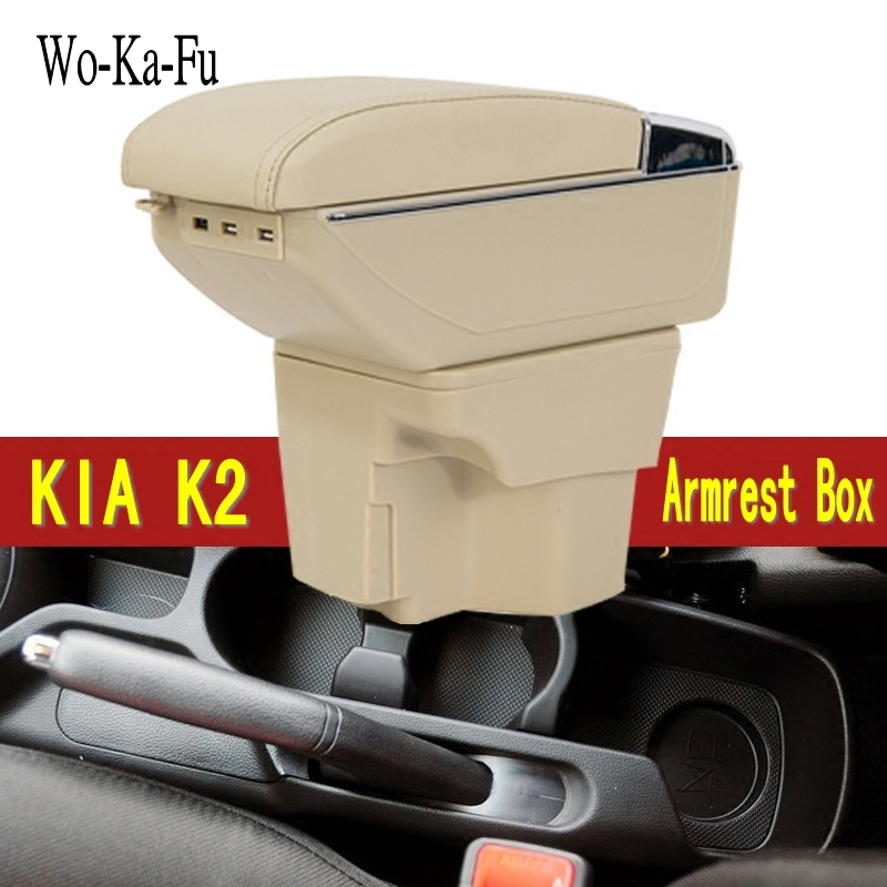 For KIA Rio armrest box central Store content Storage box kia armrest box with cup holder ashtray products USB interface car armrest for kia k2 rio 2011 2016 central store content storage box with cup holder ashtray accessories car styling abs