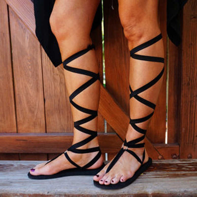 988e6ea50385 ... Women Sandals Plus Size Thong Bandage Bohemian Beach Style Shoes Woman  Summer Lace Up Knee High ...