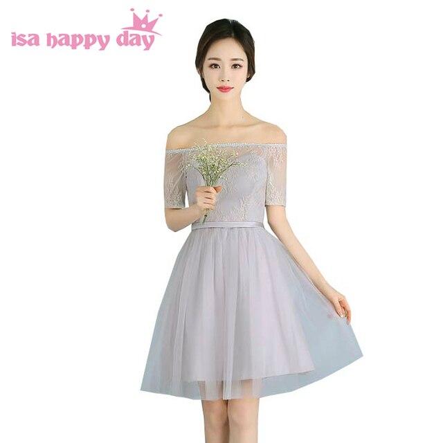 Corto de color gris del amor lindo modesto vestido de dama de hombro ...
