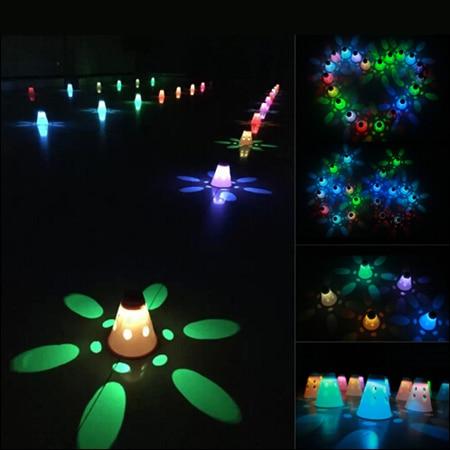 Prix pour 10 Pcs LED éclairage de patinage cône tasses pour nuit rouleau Skate sport, Batterie rechargeable à l'intérieur, - Lumière Slalom Skate