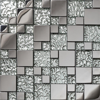 SA073 10 High Quality Stainless Steel Mosaic Sliver Metal Mosaic Glass Mosaic For Wall