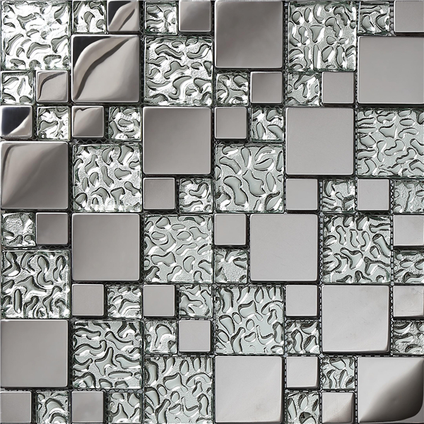 Stainless steel mosaic tiles tv kitchen backsplash wall Mosaic tile wall designs
