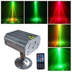 24 modos patrones de luz láser proyector LED RG etapa Disco lámpara de Flash para año nuevo baile fiesta de Navidad interior espectáculo de luz