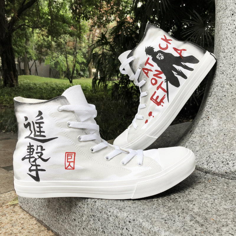d5433ff0 US $59.25 25% OFF Wen Design Hand Painted Anime Shoes Attack on Titan High  Top White Canvas Unisex Sneakers Boy Skateboard Shoes Sport-in ...