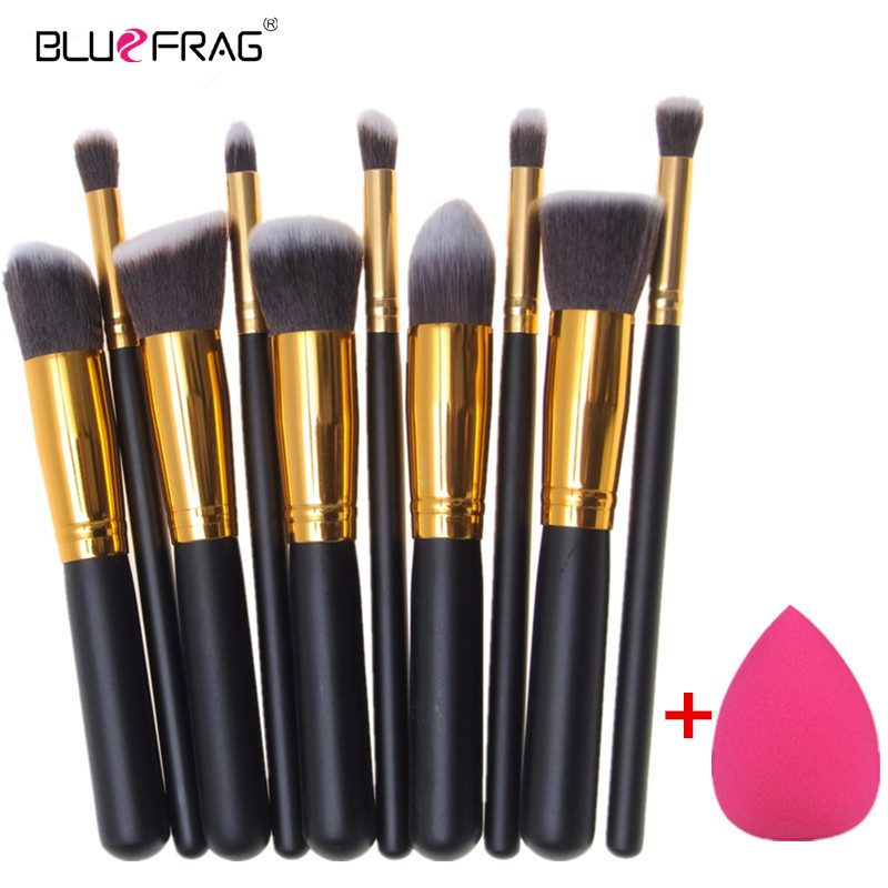 BLUEFRAG Mini 10pcs Makeup Brushes Foundation Blending Blush Make up Brush  + 1 Water Sponge Cosmetics Puff, Beauty tool Kit Set jessup 5pcs black gold makeup brushes sets high quality beauty kits kabuki foundation powder blush make up brush cosmetics tool