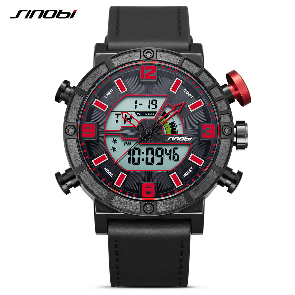 SINOBI Luxury Brand Men Sport Watches LED Display Clock Male Leather Digital Quartz Date Watch Backlight