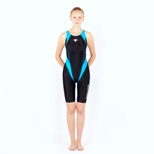 Women Long Knee Professional Competition Plus Size Swimwear Lady Sexy One Piece Sport Striped Tight Bodysuit Bathing SwimSuit
