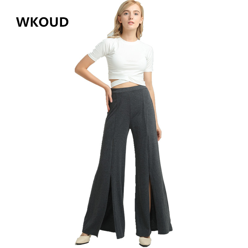 WKOUD   Wide     Leg     Pants   For Women Sexy Hollow Out Holes   Wide     Pants   Female Loose Casual Full Length Trousers Fall Summer Wear P8079