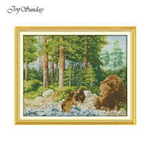 Happy of the Forest Counted Cross Stitch Embroidery Landscape Patterns DMC 11 14CT Printed Canvas Fabric Needlework