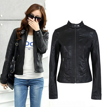 2017 Fashion New Women's   Leather   Jacket Pimkie Cleaning Single PU   Leather   Jacket Motorcycle Temale Women Slim coat XS-XXXL