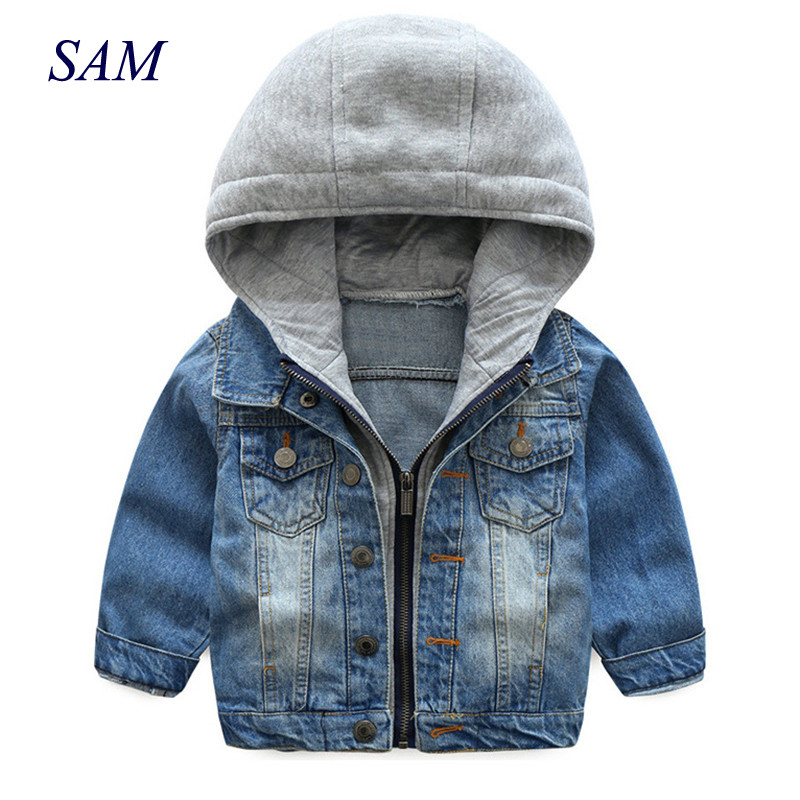 2018 New Spring and Autumn Baby Boys Coat Wash Soft Denim Coat Hooded Zipper Coat Jeans Jacket for Kids Children Clothing edging design bleach wash zipper fly narrow feet slimming men s jeans