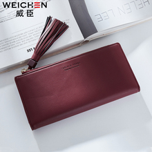 WEICHEN Women Wallet Cell Phone Pocket Tassel Female Leather Purse For Girls Photo Holder Credit Card Solid Long Standard Wallet