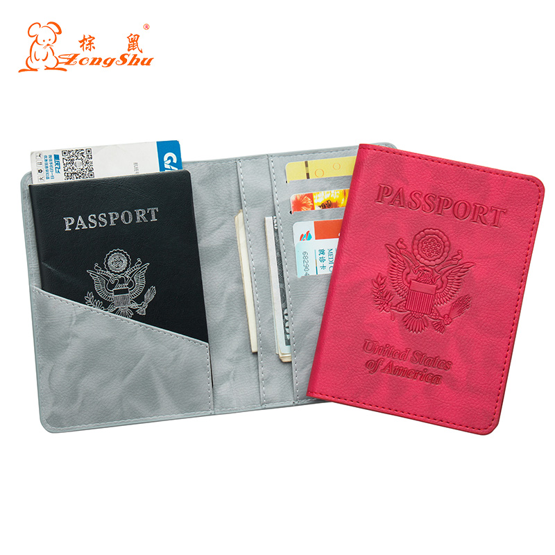 Making Things Convenient For Customers Reasonable Solid Oil Dark Red Buckle Pu Leather Passport Holder Built In Rfid Blocking Protect Personal Information custom Available