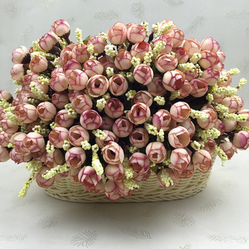 15Heads Mini Silk Peony Artificial Flowers Bride Bouquet For Wedding Home Party Decoration 4