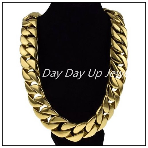 24/31mm Cool Jewelry Huge Heavy Curb Cuban Chain Gold 316L Stainless Steel Men's Necklace High Quality Christmas Gift 20mm heavy jewelry 316l stainless steel silver gold black cuban curb chain mens bracelet bangle 8 5 high quality male wristband