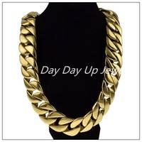 24/31mm Cool Jewelry Huge Heavy Curb Cuban Chain Gold 316L Stainless Steel Men's Necklace High Quality Christmas Gift