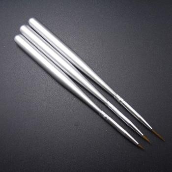 3 uds plata acrílico delineador para decoración de uñas de dibujo y pintura Artlalic diferente tamaño pluma cepillo cepillos herramientas de uñas de arte