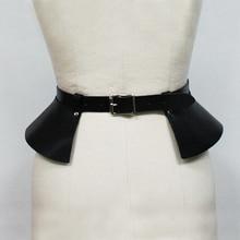 Sexy leather skirt punk catwalk models wild temperament belt Leisure bound decoration split thin leather wide belt girdle