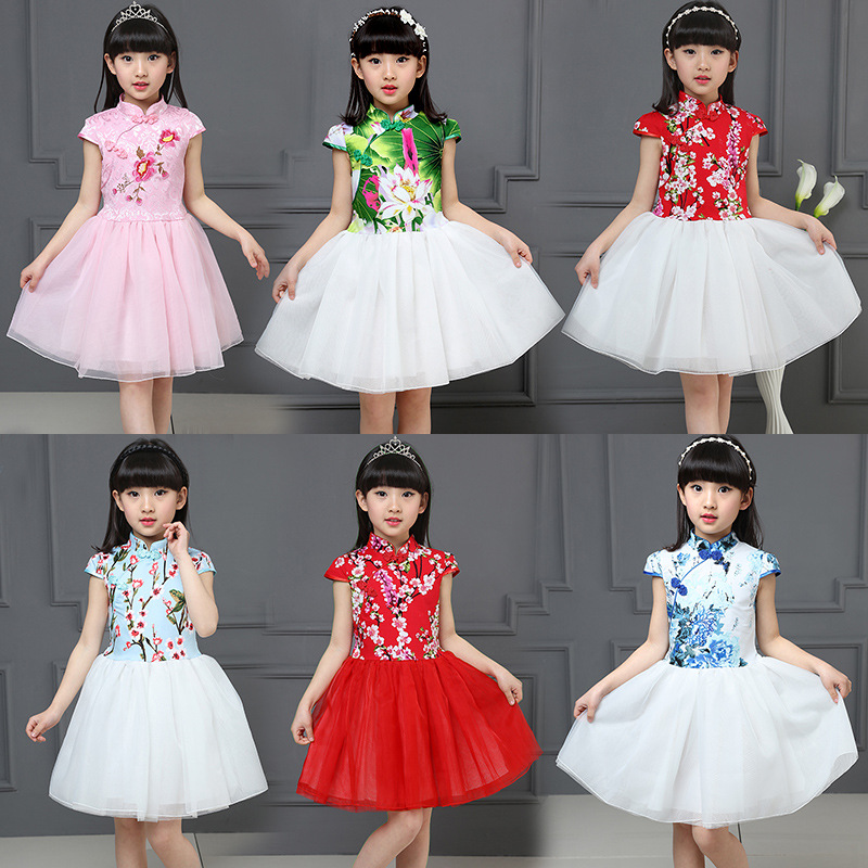 Chinese Style Summer Girl Dress Retro Flower Pattern Girls Dresses Kids Clothes Wedding Party Gown Toddler Children Clothing girls dress 2017 new summer flower kids party dresses for wedding children s princess girl evening prom toddler beading clothes