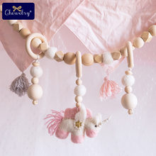 Baby Wooden Teether 1pc Unicorn Wool Felt Ball Pram Chain Rattle Rings Mobile Bed Bell Pacifier Pendant Newborn Toys
