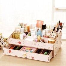 Корейский стиль деревянный ящик diy ящик для хранения макияж организатор ювелирные изделия коробка кассета отделочные box организатор стол